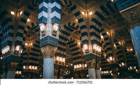 MEDINA, SAUDI ARABIA - JUNE 11, 2017: The interior architecture of Al-Masjid an-Nabawi.
