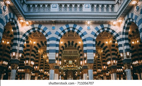 MEDINA, SAUDI ARABIA - JUNE 11, 2017: Entrance gate of Masjid Nabawi. Nabawi mosque is the second holiest mosque in Islam.