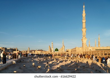 MEDINA, SAUDI ARABIA (KSA) - FEB 3: View of Baqee' Muslim cemetary at Masjid (mosque) on February 3, 2017 in Medina, Saudi Arabia. The cemetery of Medina draws attention with its simple structure.