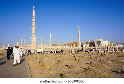 MEDINA, SAUDI ARABIA - MAR 2016 : The Grave of the al-Baqi, on March 4, 2016 in Medina, Saudi Arabia. Al-Baqi located to the southeast of the Masjid al-Nabawi (The Prophet's Mosque).