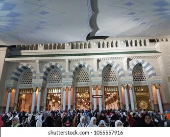 MEDINA, SAUDI ARABIA - March 2018 : Muslim pilgrimages at Prophet Mosque or Masjid Nabawi.