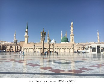 MEDINA, SAUDI ARABIA - March 2018 : Muslim pilgrimages at Prophet Mosque or Masjid Nabawi.