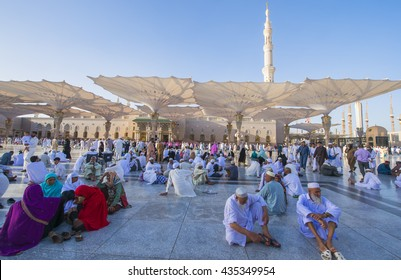 MEDINA, Saudi Arabia March 21, 2016 : Pilgrims rest while waiting for next prayer at Nabawi Mosque.