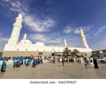 Medina, Saudi Arabia - March 28, 2018 : View of exterior building Quba or Kuba Mosque in Medina. Selective focus