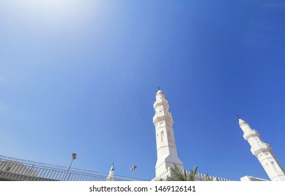 Medina, Saudi Arabia - March 28, 2018 : Beautiful view of exterior building of Quba Mosque in Medina.  Selective focus