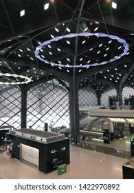 MEDINA, SAUDI ARABIA - MAY 27, 2019 : Interior view of a new Haramain high speed railway station at Madinah station in Medina, Saudi Arabia.