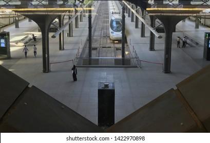 MEDINA, SAUDI ARABIA - MAY 27, 2019 :  Top view of Madinah Haramain station with a single bullet train on a track at HSR Madinah station in Medina, Saudi Arabia.