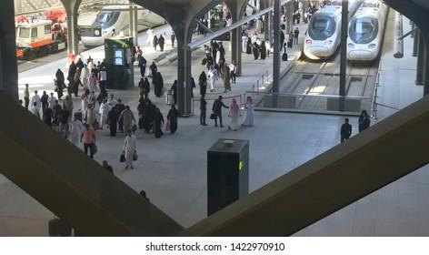 MEDINA, SAUDI ARABIA - MAY 27, 2019 :  Local and foreign passangers arrived at HSR Madinah station in Medina, Saudi Arabia.