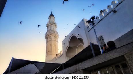 Medina, Saudi Arabia - May 6, 2019 :  Tower of Masjid Nabawi Madinah.