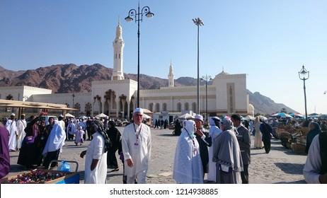 Medina, Saudi Arabia - November, 2018: The muslims pilgrims at the Uhud Hill area.
