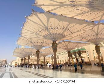 Medina, Saudi Arabia - Oct 1, 2016 • 10:27:46 AM. Exterior view of Nabawi Mosque building in Medina (Madinah)