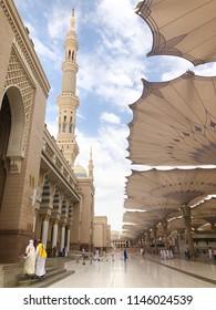Medina, Saudi Arabia - September 6, 2018: Closeup of Nabawi's Mosque building in Medina (Madinah) with selective focus and crop fragment