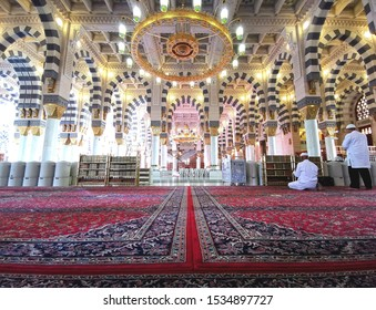 MEDINA, SAUDI ARABIA - September 6, 2018: Interior view of  Masjidil Nabawi (Nabawi Mosque) in Medina.
