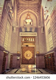 Medina, Saudi Arabia - September 7, 2017: Exterior of Nabawi  Mosque Entrance Gate  in Medina (Madinah) with selective focus and crop fragment