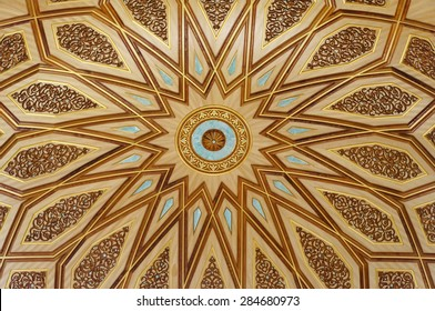 MEDINA, SAUDI ARABIA-CIRCA MAY 2015: Close up view of the dome inside of Nabawi Mosque on MAY, 2015 in Medina, Saudi Arabia. The Mosque is the 2nd holiest mosque in Islam.