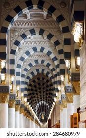 MEDINA, SAUDI ARABIA-CIRCA MAY 2015: Interior of Masjid (mosque) Nabawi on MAY, 2015 in Medina, Saudi Arabia. The Mosque is the 2nd holiest mosque in Islam.
