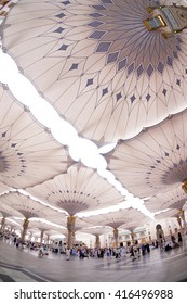 MEDINA, SAUDI ARABIA-CIRCA MAY 2015: beautiful fish eye view of underneath giant canopies in Nabawi Mosque on MAY, 2015 in Medina, Saudi Arabia .The Nabawi mosque is the second holiest mosque in Islam