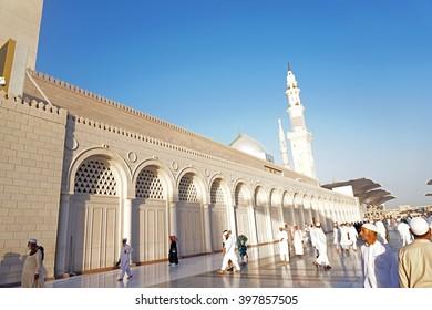 MEDINA, SAUDI ARABIA-CIRCA NOV 1, 2014: A view from the front of Nabawi Mosque on Nov 1, 2014 in Medina, Saudi Arabia. Nabawi mosque is the second holiest mosque in Islam.