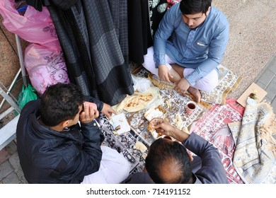 Medina, Saudi Arabia-February 27, 2017: eating curry together with friends. Dishes and appetizers of arabian cuisine