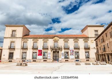 MEDINACELI, SPAIN - MAY 13, 2018: Historical buildings around the Plaza Mayor (main square) of Medinaceli in Soria, Spain.