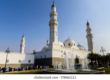 MEDINAH, SAUDI ARABIA - FEBRUARY 13: A view of Masjid Quba February 13, 2017 in Medina, Saudi Arabia. This is the first mosque built by Prophet Muhammad (peace be upon him) in Islam.