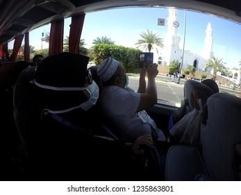 Medina,Saudi Arabia:April 2018 - pilgrim hajj for malaysia take some photo of Masjid al-Qiblatayn from inside buss. This is Masjid Qiblatain (Mosque of the Two Qiblas)