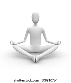 Meditating 3D white man, isolated white background, 3d image