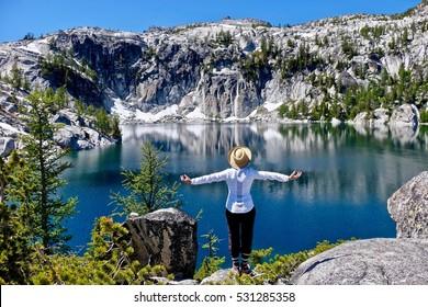 Meditation by Vivian Lake. Enchantment Lakes Basin. Cascade Mountains. Seattle. Leavenworth. WA. United States.