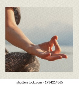 Meditation hand textured background health and wellness remixed media