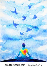 meditation human, flying birds in blue sky abstract mind illustration watercolor painting design hand drawn