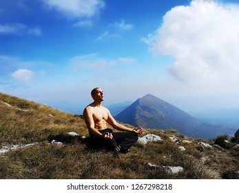 Meditation Man on the Top of the Mountain - Mind Meditation