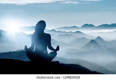 meditation silhouette images stock photos  vectors