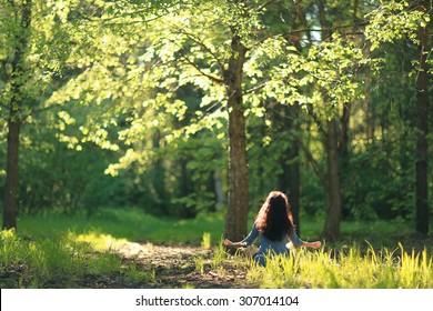 Meditation spring summer woman