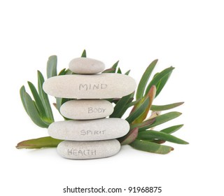 Meditation Stones with Health Body Spirit Mind written in pencil in front of plant isolated on white background