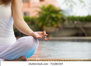 Meditation woman focus at hand