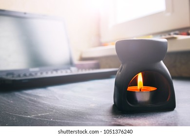 meditation in the workplace. candle  fire. relax