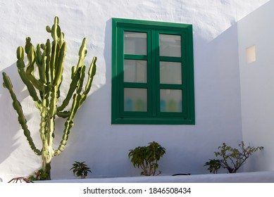 Mediterran Setting, white wall, cactus plant and green window