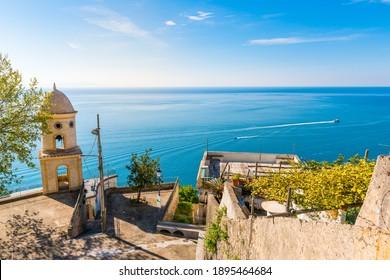 Mediterranean architecture of Amalfi - Italian seaside town on coastline of Tyrrhenian Sea
