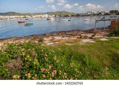 Mediterranean bay in Sant Antoni de Portmany, Ibiza Island, Balearic islands.
