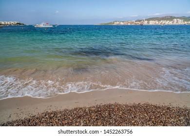 Mediterranean bayand beach in Sant Antoni de Portmany, Ibiza Island, Balearic islands.