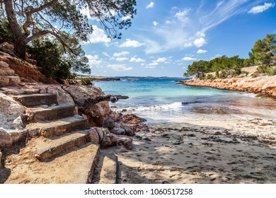 Mediterranean beach, Cala Gracioneta, town of Sant Antoni, Ibiza island,Spain.