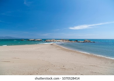 Mediterranean beach in Costa Brava, L Escala,Catalonia,Spain.
