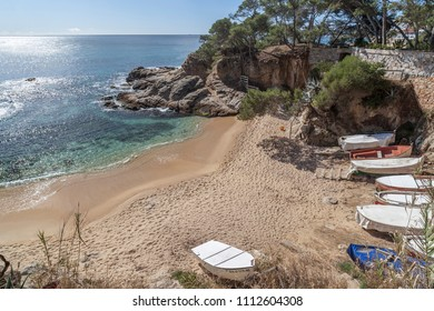 Mediterranean beach in Costa Brava, Platja d Aro,Catalonia,Spain.