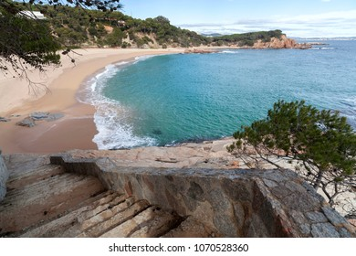 Mediterranean beach in Costa Brava, S Agaro,Catalonia,Spain.