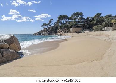 Mediterranean beach, Costa Brava, Sant Antoni de Calonge, province Girona, Catalonia, Spain.