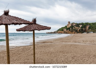 Mediterranean beach in Costa Daurada area, castle of Tamarit,Tarragona, Catalonia, Spain.