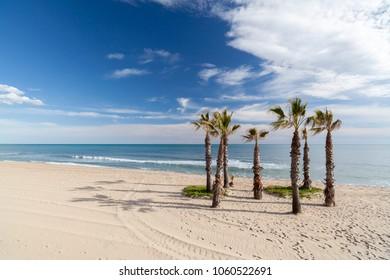 Mediterranean beach, Costa Dorada, Catalonia, Spain.