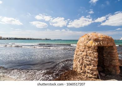 Mediterranean beach, Beach Es Pouet, town of Sant Antoni, Ibiza island,Spain.
