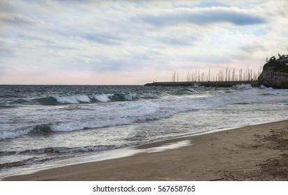 Mediterranean beach in Garraf. Province Barcelona, Catalonia, Spain
