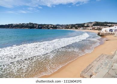 Mediterranean beach Sant Pol in Sant Feliu de Guixols,Costa Brava,Catalonia,Spain.